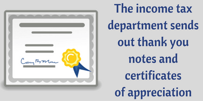 Appreciation certificate and badges from the ITD/income tax dept to tax payers